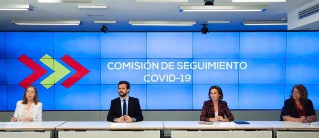 El presidente del PP, Pablo Casado, preside la Comisión de Seguimiento Covid-19 de su partido, a la que asisten Ana Pastor, Cuca Gamarra y Elvira Rodríguez, entre otras.