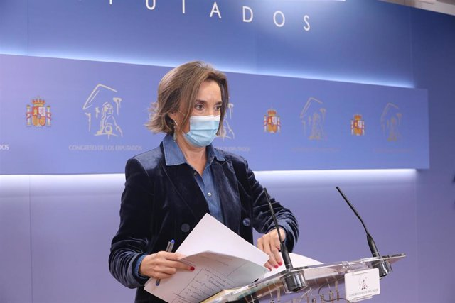 La portavoz del PP en el Congreso de los Diputados, Cuca Gamarra, interviene en la rueda de prensa posterior a la reunión de la Junta de Portavoces en el Congreso de los Diputados, en Madrid (España), a 27 de octubre de 2020.