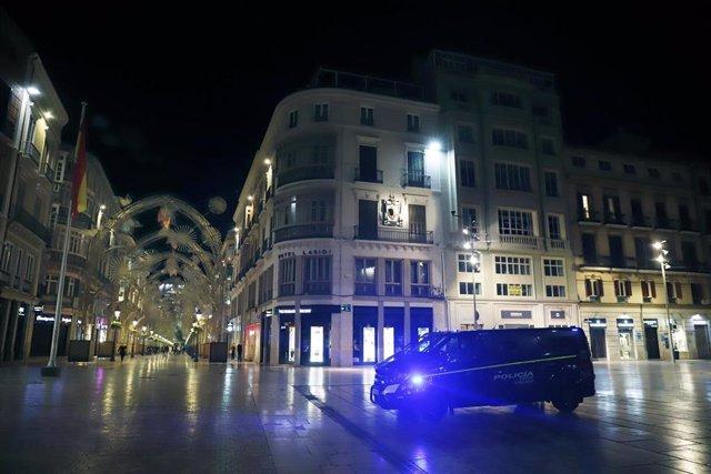 Imagen del centro de Málaga durante el toque de queda