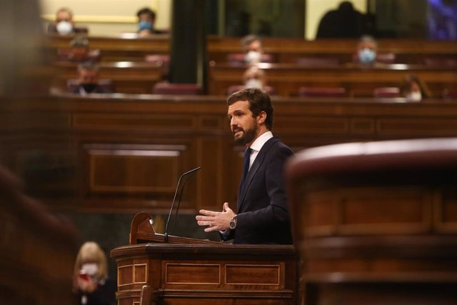 El líder del PP, Pablo Casado, durante su intervención en el pleno de Debate de totalidad del Proyecto de Ley de Presupuestos Generales del Estado para el año 2021.