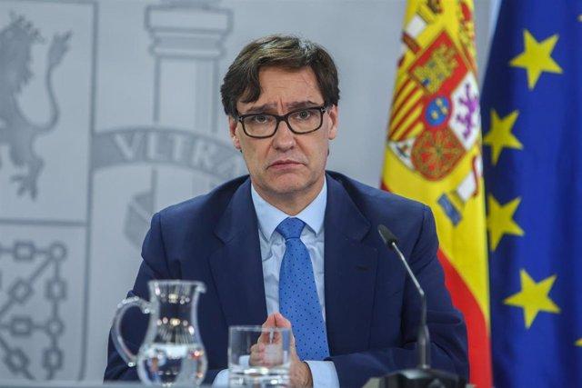 El ministro de Sanidad, Salvador Illa; interviene durante una rueda de prensa tras la celebración del Consejo Interterritorial en el Complejo de Moncloa, en Madrid, (España), a 4 de noviembre de 2020.