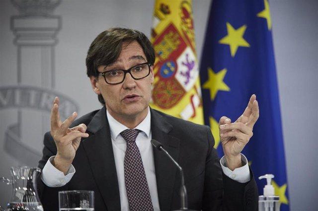 El ministro de Sanidad, Salvador Illa, ofrece una rueda tras la reunión del Consejo Interterritorial del Sistema Nacional de Salud en el Complejo de la Moncloa en Madrid a 11 de noviembre de 2020.