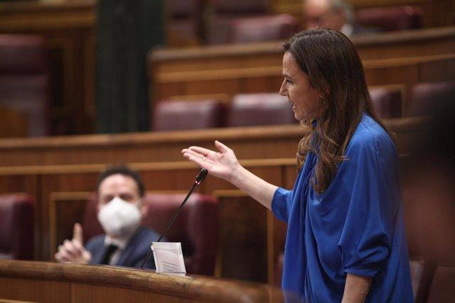 La diputada del Partido Popular Teresa Jiménez-Becerril interviene en el pleno del Congreso de los Diputados, Madrid (España), a 27 de mayo de 2020.