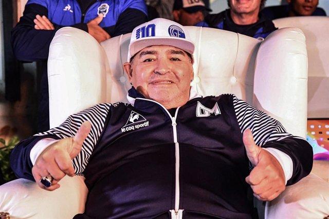 25 February 2020, Argentina, Buenos Aires: Argentine football legend Diego Maradona attends a homage event held in his honour at the Estadio Centenario. Photo: Alfredo Luna/telam/dpa