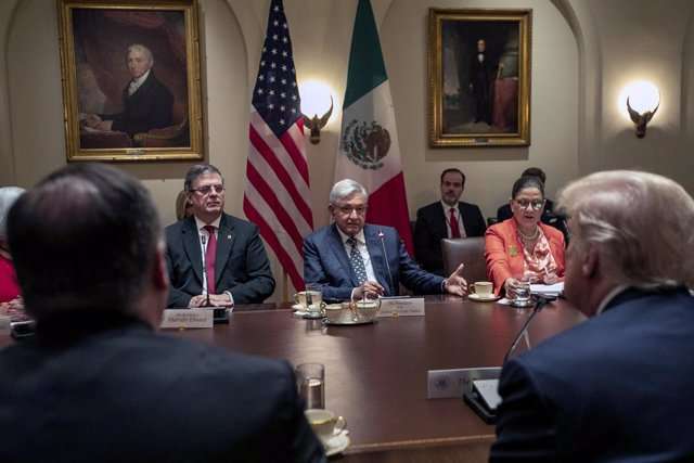 El presidente de México, Andrés Manuel López Obrador, durante su visita a la Casa Blanca en julio de 2020.