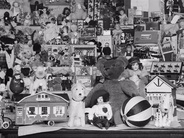 A large selection of toys, donated by staff at Weldon's store in London, to be distributed among children in hospital at Christmas, December 1926