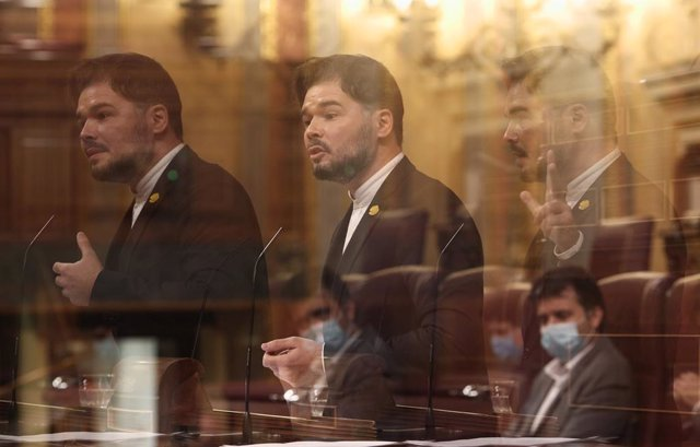 El portaveu d'ERC al Congrés, Gabriel Rufián, durant la segona jornada del debat dels pressupostos generals del 2021.