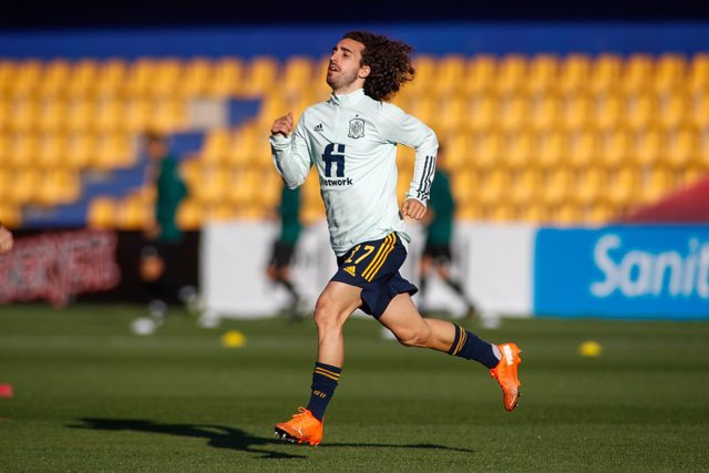 Marc Cucurella of Spain Sub21 warms up during the UEFA Under 21 Championship football match played between Spain and Kazakhstan at Santo Domingo stadium on october 13, 2020 in Alcorcon, Madrid, Spain.