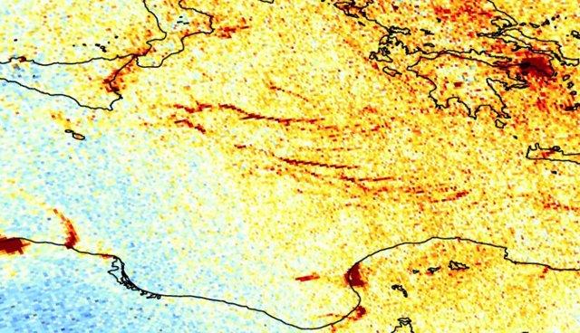 Emisiones de dióxido de nitrógeno sobre el Mediterráneo