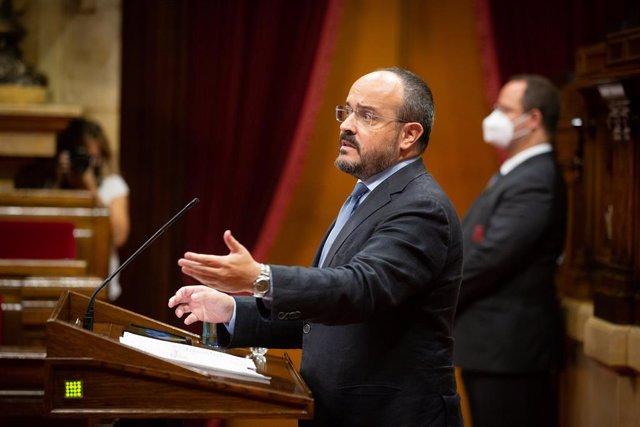 El líder del PP català, Alejandro Fernández, intervé en el debat de política general (DPG) al Parlament. Barcelona, Catalunya (Espanya), 16 de setembre del 2020.