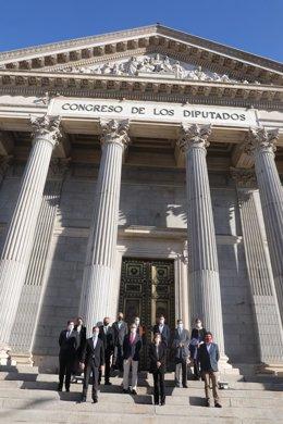 Organizaciones posan en la escalinata del Congreso con representantes del sector agroalimentario afectados por la subida del impuesto a bebidas azucaradas