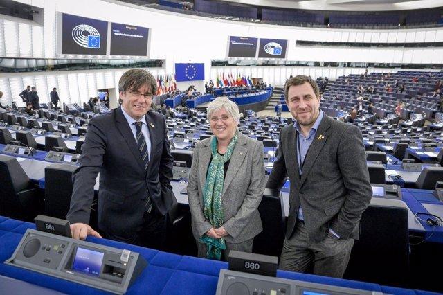 Els eurodiputats Comín, Ponsatí i Puigdemont (Arxiu)