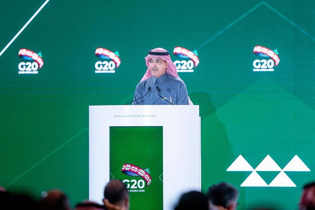 22 February 2020, Saudi Arabia, Riyadh: Saudi Finance Minister Mohammed Al-Jadaan speaks during the G20 finance ministers and central bank governors meeting. Photo: -/Saudi Press Agency/dpa