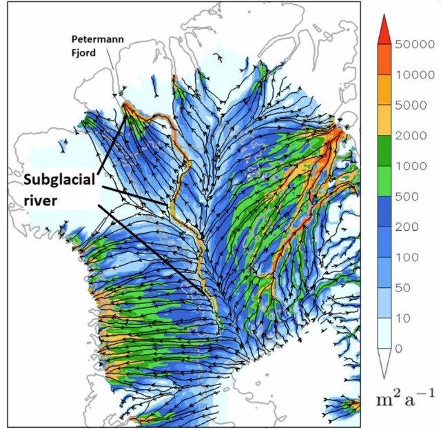 El valle sugerido y el posible río que fluye desde el interior profundo de Groenlandia hasta el fiordo Petermann, muy por debajo de la capa de hielo de Groenlandia