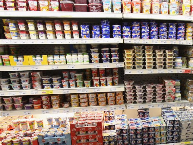 A Yogurt Containers On A Supermarket Shelf July 30, 2007 In Berlin, Germany.