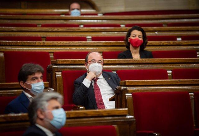 El líder del PSC, Miquel Iceta, durant el ple del Parlament. Barcelona, Catalunya, (Espanya), 9 de setembre del 2020.