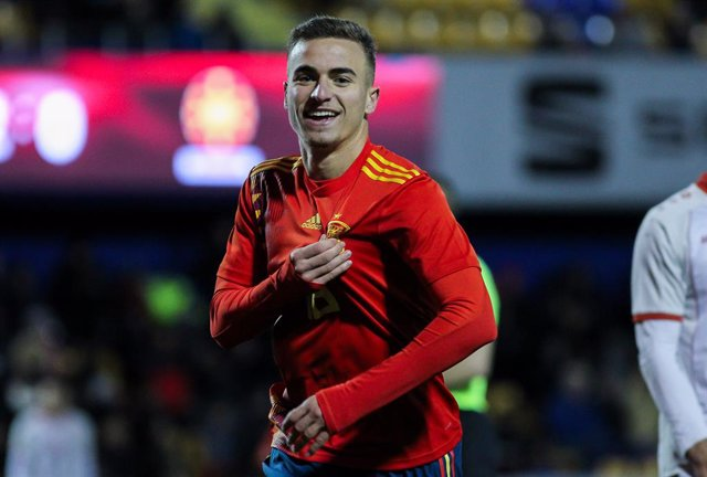 ALCORCON, SPAIN - NOVEMBER 14: Adria GIner Pedrosa, player of Spain Under-21, celebrates a goal during the Eurocup Qualifiers Under-21 Group F football match played between Spain Under-21 and Macedonia Under-21 at Santo Domingo Stadium on November 14, 201