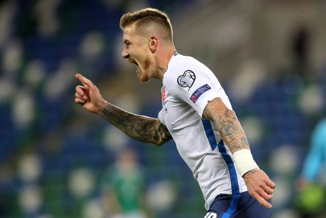 12 November 2020, Northern Ireland, Belfast: Slovakia's Juraj Kucka celebrates scoring his side's first goal during the UEFA Euro 2020 Qualifying Play-off Finals soccer match between Northern Ireland and Slovakia at Windsor Park. Photo: Brian Lawless/PA W