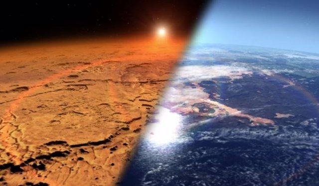 El concepto de este artista representa el entorno marciano temprano (derecha), que se cree que contiene agua líquida y una atmósfera más espesa, frente al ambiente frío y seco que se ve en Marte hoy (izquierda).