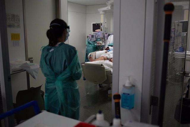 Personal sanitario visita a un enfermo ingresado en la Unidad de Cuidados Intensivos (UCI) del Hospital de la Santa Creu i Sant Pau (Archivo)