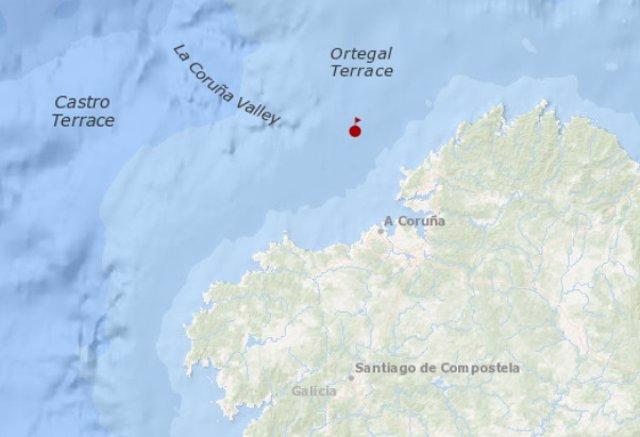 Mapa del punto en el que se encontraba el barco del que ha sido evacuado el tripilante