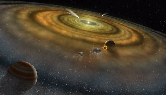 Concepción artística del polvo y el gas que rodean un sistema planetario recién formado.