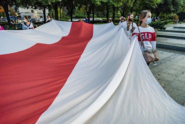 Manifestación en Varsovia (Polonia) contra el Gobierno de Bielorrusia