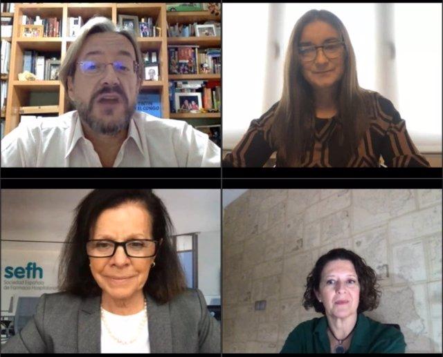Los Dres. Álvaro Rodríguez-Lescure (SEOM), Ana Lozano (SEFH), Olga Delgado (SEFH) y Ruth Vera (SEOM) durante la celebración del webinar de presentación del Manual 10 retos en Oncología y Farmacia Hospitalaria.