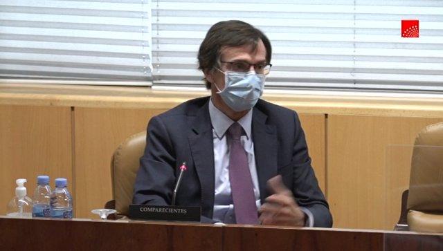 El presidente de la Asociación de Empresas de Servicios para la Dependencia (AESTE), Ignacio Vivas, durante su comparecencia en la comisión de investigación de Residencias y Covid-19 de la Asamblea de Madrid
