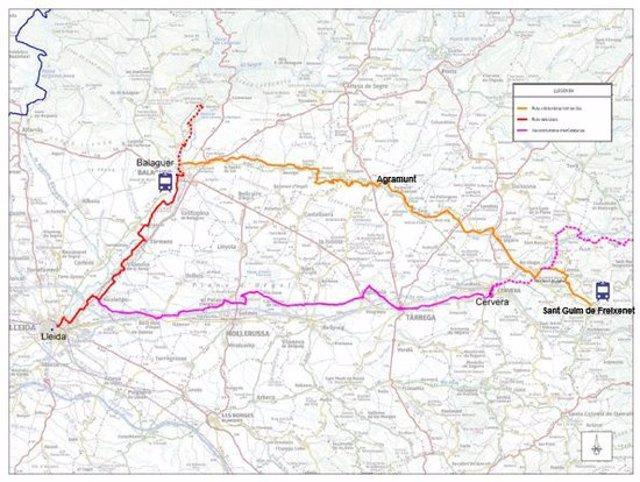 Plànol del recorregut de la nova ruta cicloturística de la vall del Sió. (Horitzontal)