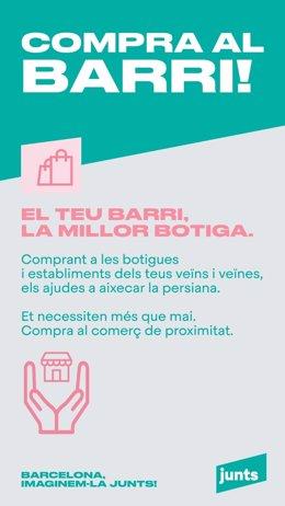 JxCat impulsa una campanya a Barcelona per defensar el comerç de proximitat.