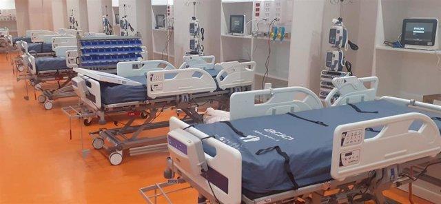 Nuevas camas de UCI habilitadas en el gimnasio del Hospital Universitario Central de Asturias (HUCA) para pacientes con coronavirus, COVID-19.