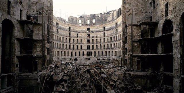 Fotografia de l'incendi del Gran Teatre del Liceu de Barcelona