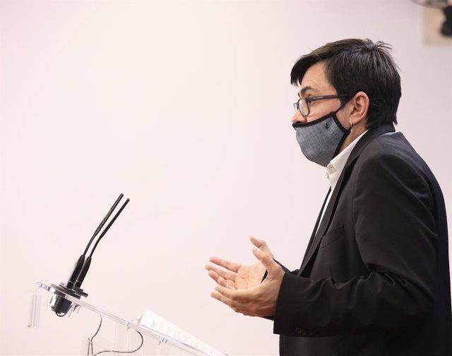 El sotssecretari adjunt de Cs i diputat al Congrés, José María Espejo-Saavedra, intervé durant la roda de premsa celebrada abans de la celebració de la Junta de Portaveus a la Cambra Baixa, a Madrid (Espanya), 8 de setembre del 2020.