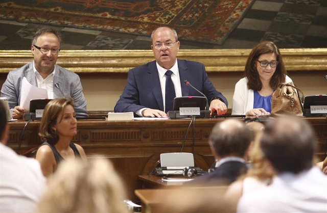 El presidente del PP de Extremadura, José Antonio Monago, en el centro, en una comisión del Senado.