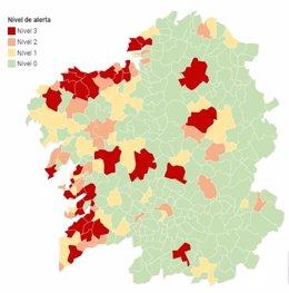 Mapa de alertas covid del Sergas a 14 de noviembre