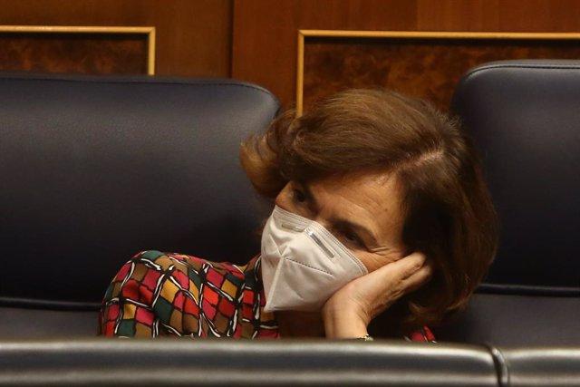 La vicepresidenta primera i ministra de la Presidència, Relacions amb les Corts i Memòria Democràtica, Carmen Calvo.