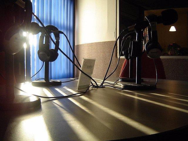 Micrófonos, emisora, foto de archivo