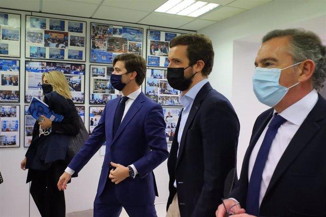 El líder del PP, Pablo Casado a su llegada al acto de clausura del 17º Congreso Provincial del PP de Zaragoza