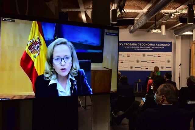 La ministra Nadia Calviño en la XXVa Trobada d'Economia a S'Agaró, que s'ha celebrat a Barcelona.