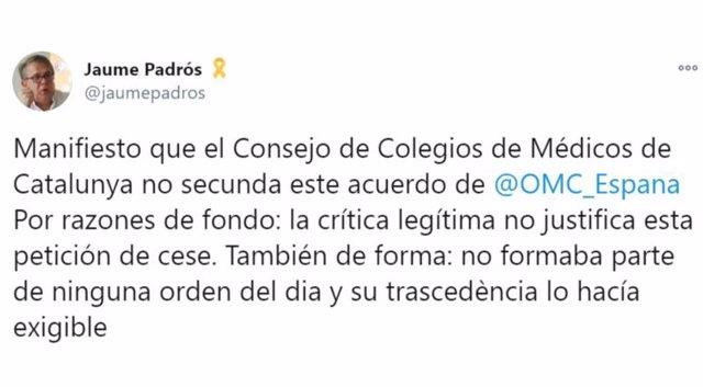 Colegio de Médicos catalán sobre Fernando Simón