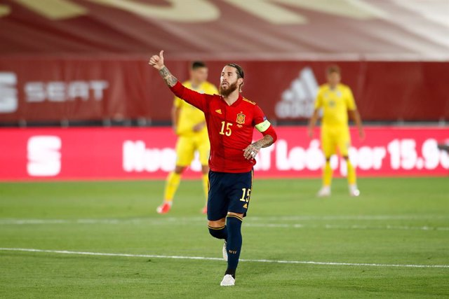 Sergio Ramos of Spain celebrates a goal during the Nations League football match played between Spain and Ukraine at Alfredo Di Stefano stadium on september 06, 2020 in Valdebebas, Madrid, Spain.