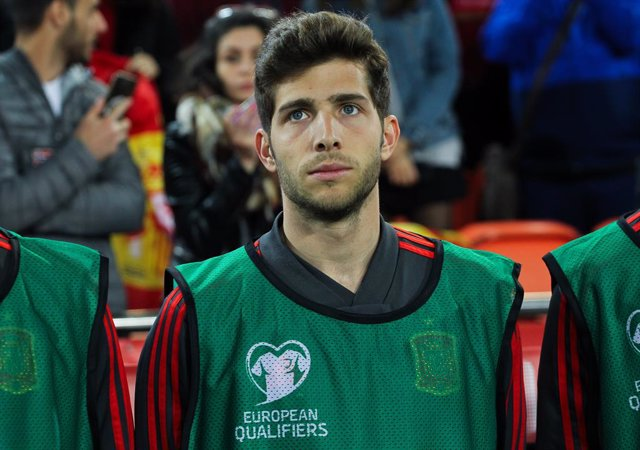 Sergi Roberto of Spain in action during European Qualifiers championship, , football match between Spain and Norway, March 23th, in Mestalla Stadium in Valencia, Spain.