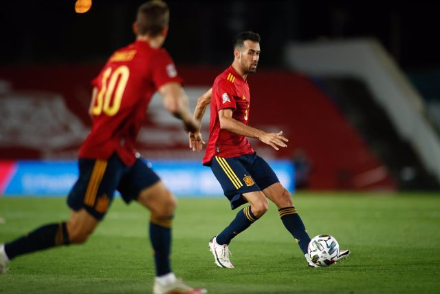 Sergio Busquets of Spain in action during the UEFA Nations League football match played between Spain and Switzerland at Alfredo Di Stefano stadium on october 10, 2020 in Valdebebas, Madrid, Spain.