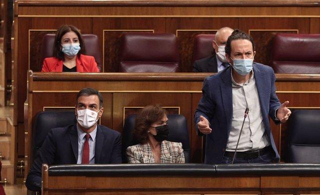 El vicepresident segon del Govern, Pablo Iglesias, intervé durant una sessió de control al Govern al Congrés
