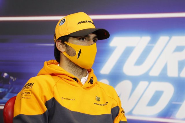 SAINZ Carlos (spa), McLaren Renault F1 MCL35, portrait during press conference of the Formula 1 DHL Turkish Grand Prix 2020, from November 13 to 15, 2020 on the Intercity Istanbul Park, in Tuzla, near Istanbul, Turkey - Photo Antonin Vincent / DPPI