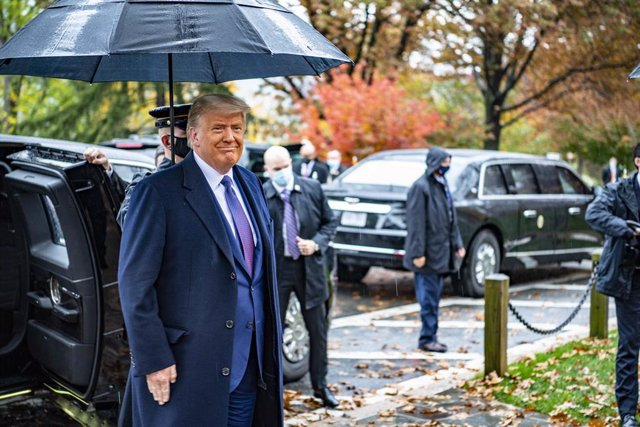 11 November 2020, US, Arlington: US President Donald Trump arrives at Arlington National Cemetery during the annual Veterans Day observances. Photo: Elizabeth Fraser/U.S. Army/Planet Pix via ZUMA Wire/dpa