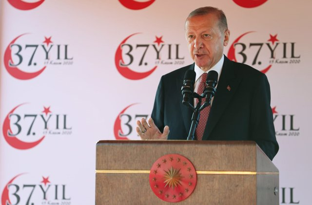 HANDOUT - 15 November 2020, Nort Cyprus, North Nicosia: Turkish President Recep Tayyip Erdogan speaks during a ceremony to mark the 1983 declaration of the Turkish Republic of Northern Cyprus. Photo: -/Turkish Presidency/dpa - ATTENTION: editorial use onl