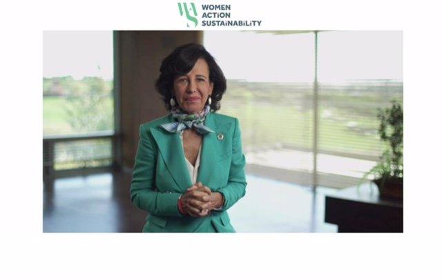 La presidentaa de Banco Santander, Ana Botín, en el evento 'Una cuestión de fondo: el fondo europeo de recuperación y sostenibilidad' organaizado por WAS.