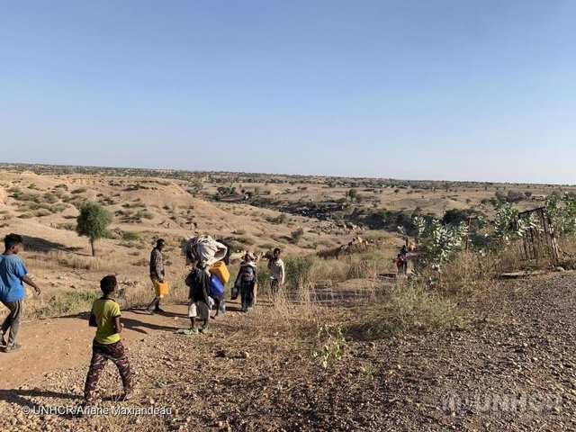 Llegada de refugiados etíopes a Sudán